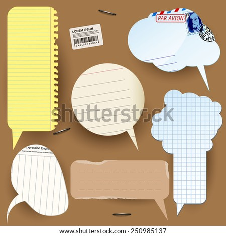 Retro styled paper vector speech bubbles - stock vector