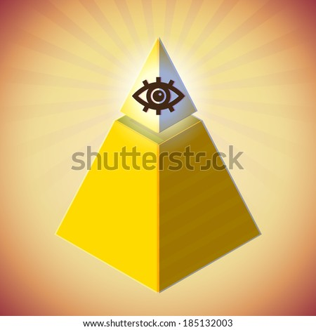 Retro styled poster with all seeing eye and golden pyramid - stock vector