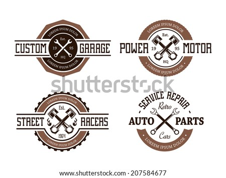 Retro styled vector auto emblems. - stock vector