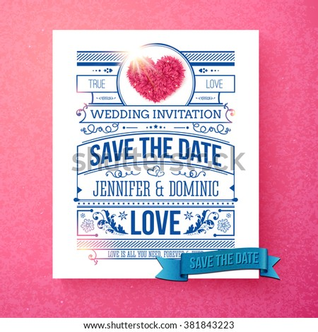 Retro stylish Save The Date wedding template with blue and white text with calligraphic ornaments, shining sun and a pink symbolic heart over a graduated pink background, vector illustration. - stock vector