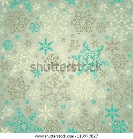 Retro stylish winter background, hand-drawn snowflakes - stock vector