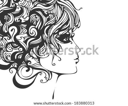 Retro stylized fashion portrait - stock vector