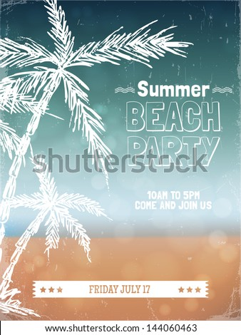 Retro summer beach party poster design. Vector illustration - stock vector
