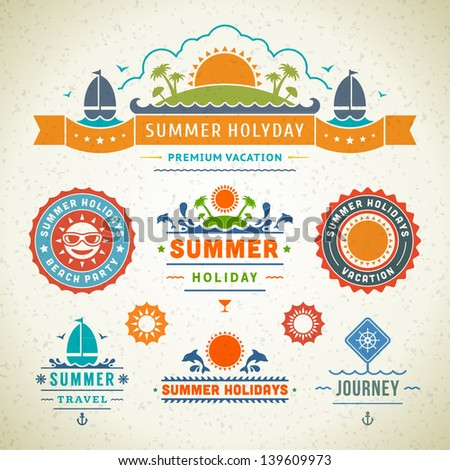 Retro summer labels and signs. Summer holidays typography. Vector illustration design elements. - stock vector