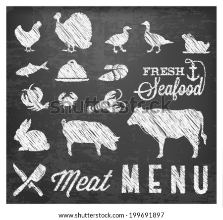 Retro Summer Meat Menu Icons on Chalkboard - stock vector