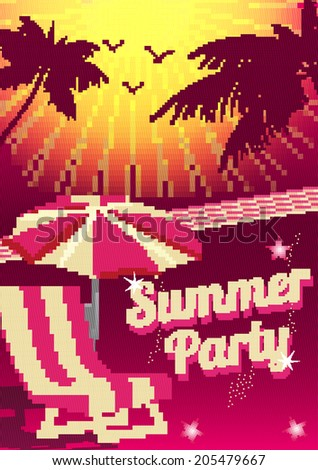 Retro Summer Party Pixel Design Poster - Vector Illustration - stock vector