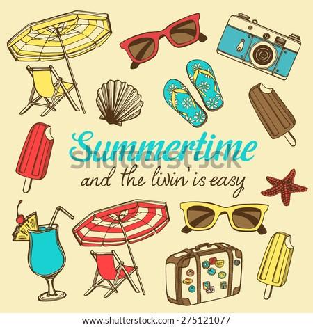 Retro summer vacation set with hand drawn travel suitcase, ice cream, colorful sun glasses, photo camera, flip flops, beach umbrella, beach chair, sea shell, sea star - stock vector