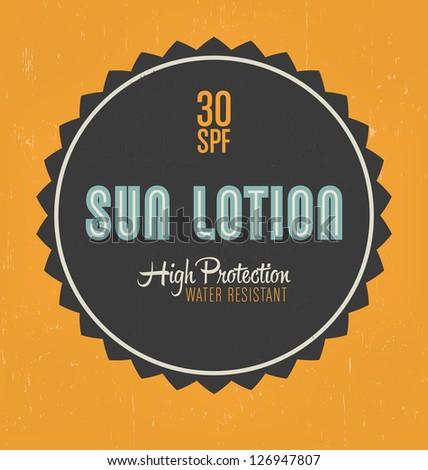 Retro Sun Lotion Label Design - stock vector