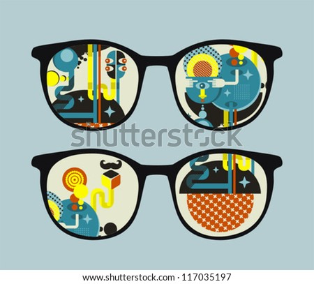 Retro sunglasses with alien reflection in it. Vector illustration of accessory - eyeglasses isolated. - stock vector
