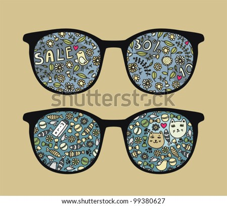 Retro sunglasses with birds and sale reflection in it. Vector illustration of accessory - eyeglasses isolated. - stock vector