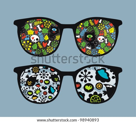 Retro sunglasses with cats and birds reflection in it. Vector illustration of accessory - isolated eyeglasses. - stock vector