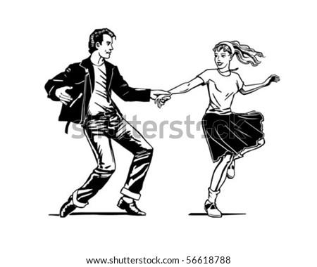 Retro Swing Dancing - Retro Clip Art - stock vector