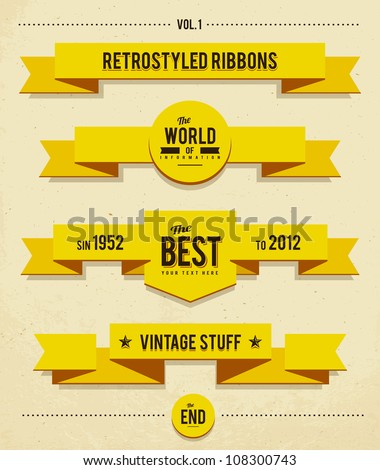 Retro syled ribbons vector set. - stock vector