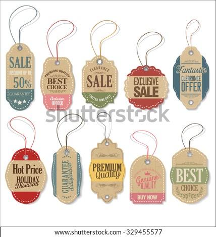 Retro tags collection - stock vector