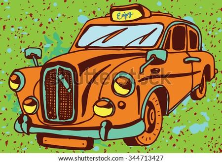 Retro Taxi Car with Enjoy text - stock vector