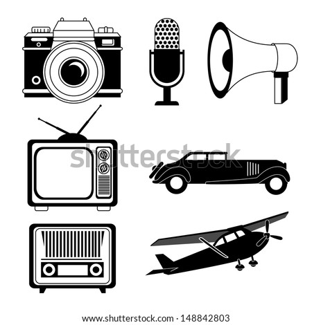retro technology over white background vector illustration  - stock vector