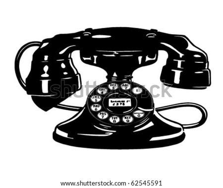 Retro Telephone 4 - Clipart Illustration - stock vector