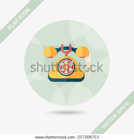 Retro telephone flat icon with long shadow,eps10 - stock vector