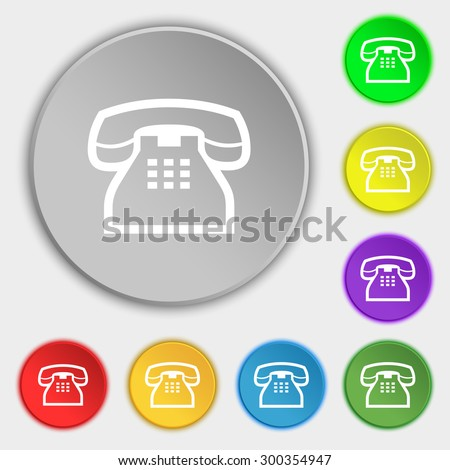 retro telephone handset icon sign. Symbol on eight flat buttons. Vector illustration - stock vector