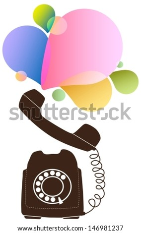 Retro telephone with color drops, Vector - stock vector