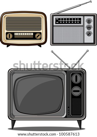Retro Television and Radio - stock vector