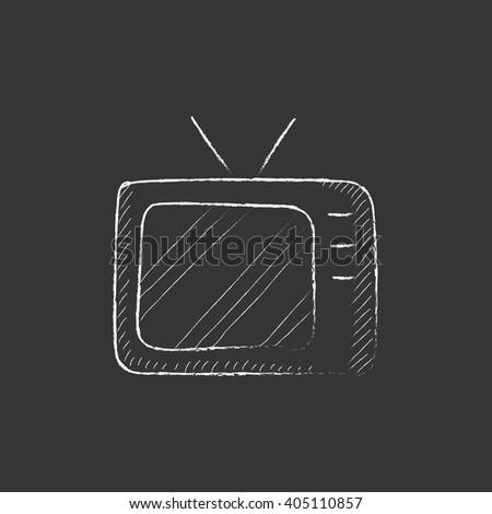 Retro television. Drawn in chalk icon. - stock vector