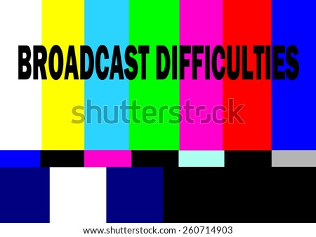 retro television test pattern with broadcast difficulties alert - stock vector