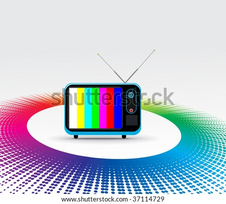 Retro television with grunge rainbow halftone background - stock vector