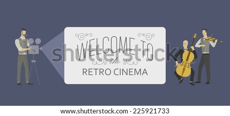 Retro template for a web video player. Silent movie cinema illustration with a small orchestra and a projectionist. EPS10 vector illustration. - stock vector