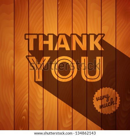 Retro thank you poster on a wooden background. Vector image. - stock vector