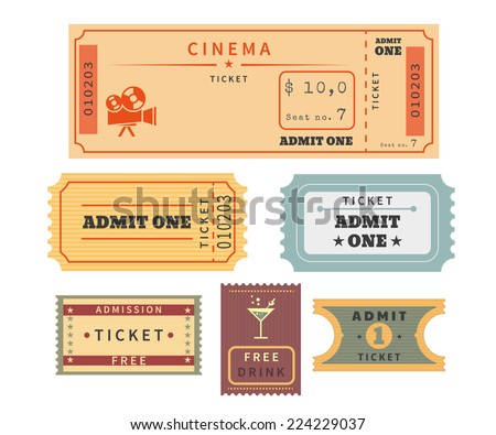 Retro ticket template set. Template vector illustration of cinema ticket stub and other events admission. Old paper stub isolated on white background - stock vector