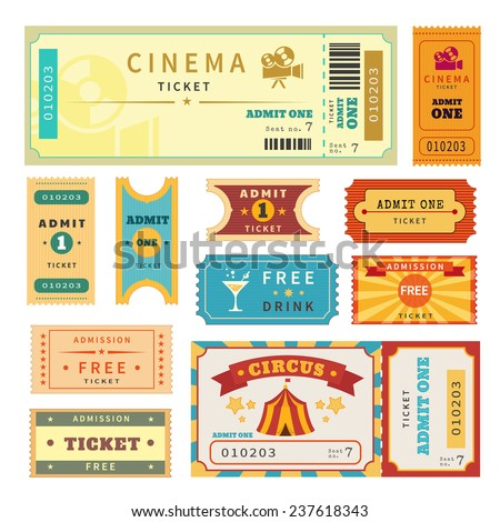 Retro tickets set. Temlate vector illustration for cinema and other events. Circus, cinema, theater and concert ticket. Admission ticket. Text outlined - stock vector