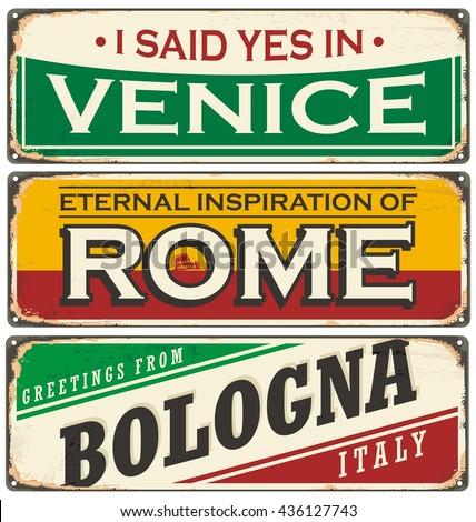 Retro tin sign collection with cities in Italy. Vintage vector souvenir sign or postcard templates. Travel theme.  - stock vector