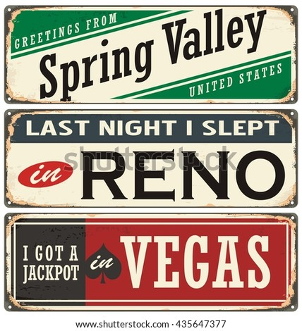 Retro tin sign collection with USA city names. Vintage vector souvenirs or postcard templates. Travel theme. Places to visit and remember. - stock vector