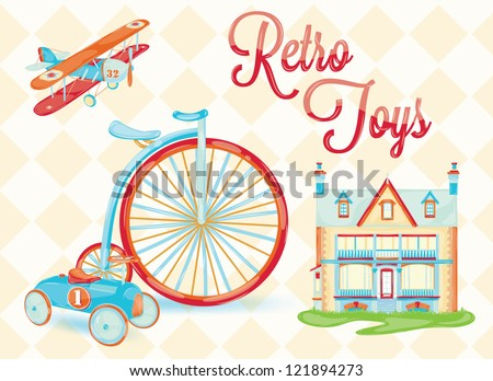 retro toy (doll house, bicycle, car, plane, chair, stylized vintage toys, baby) with the background of rhombuses - stock vector