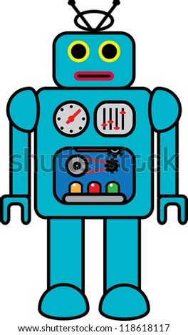 Retro Toy Robot - stock vector