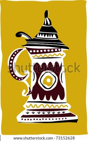 Retro Traditional Beer Mug Stein Vector Illustration - stock vector