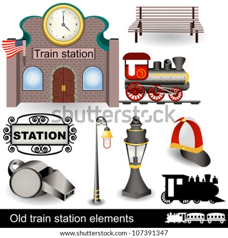 Retro train station with elements - stock vector