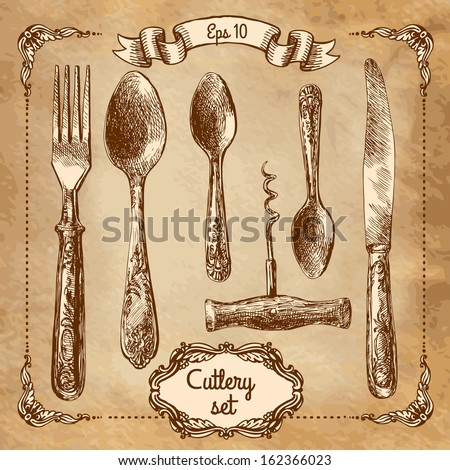 Retro transparent silverware icons sketch style illustration. Vector file layered for easy editing.  - stock vector