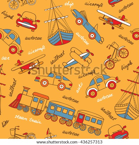Retro-transport of hand-drawn forms a seamless pattern. Vector illustration in cartoon style. Planes, train, cars, ships. - stock vector