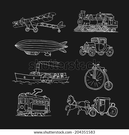 Retro transport. Old times. Airplane, locomotive, zeppelin, automobile, steamboat, bicycle, tram, diligence. Vector. Isolated on a black  background. Doodles. Sketch. - stock vector