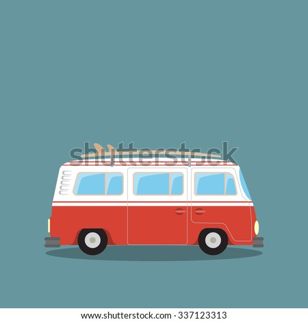 retro travel van - stock vector