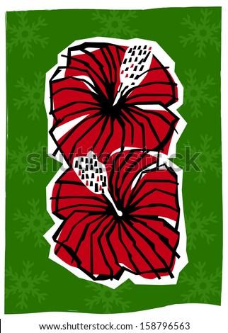 Retro Tropical Christmas Hibiscus Flowers Vector Illustration - stock vector