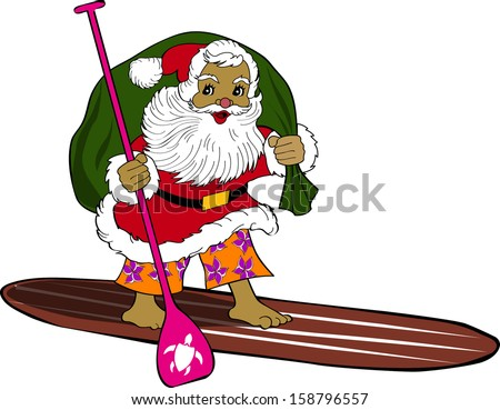 Retro Tropical Christmas Surfing Santa on Standup Paddleboard Vector Illustration - stock vector