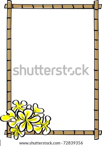 Retro Tropical Vertical Bamboo Frame with Corner Plumeria Flowers Vector Illustration - stock vector