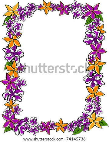 Retro Tropical Vertical Lei Frame with Flower Blossoms and Leaves Vector Illustration - stock vector
