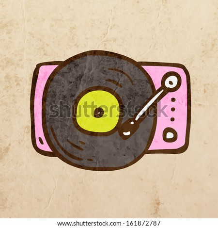 Retro Turntable. Cute Hand Drawn Vector illustration, Vintage Paper Texture Background - stock vector