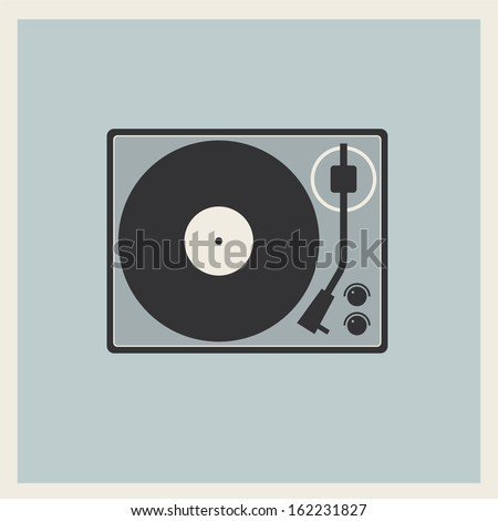 Retro turntable vinyl record player vector - stock vector
