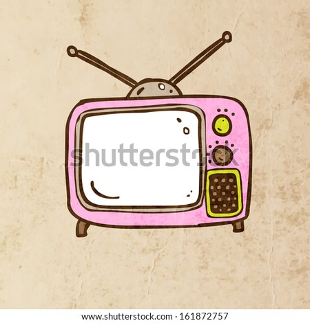 Retro TV. Cute Hand Drawn Vector illustration, Vintage Paper Texture Background - stock vector