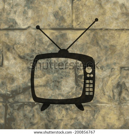 Retro tv. Flat modern web button and space for your text. Vector. EPS10 - stock vector